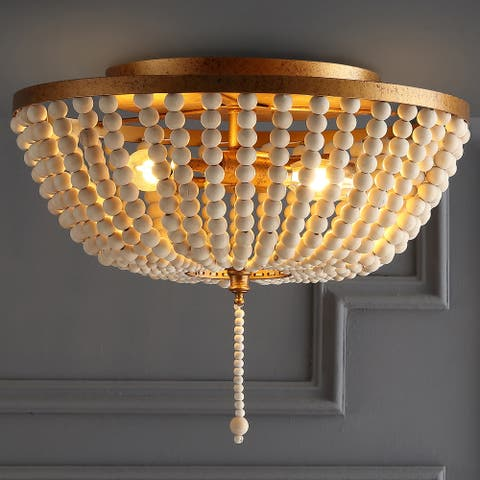 "Allison 15"" Wood Beaded/Metal LED Flush Mount by JONATHAN Y"
