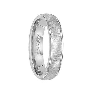 TRAVIS 14k White Gold Wedding Band Florentine Inlay Rolled Edges by Artcarved - 5 mm