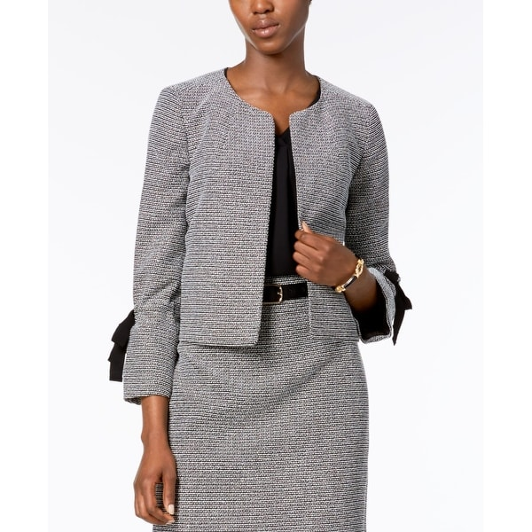 Nine West Black Women's Size 14 Tie Sleeve Tweed Open Front Jacket