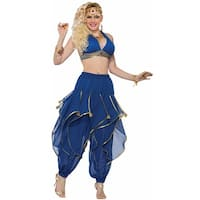 Blue And Gold Harem Pants - as shown - One Size Fits Most
