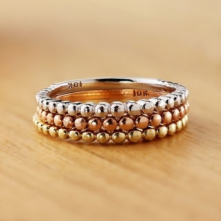 Auriya 10K Gold Petite Beaded Style Stackable Anniversary Ring