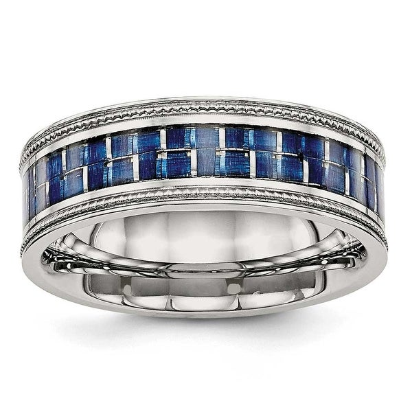 Stainless Steel Polished with Blue Carbon Fiber Textured Edge Ring (8 mm) - Sizes 7 - 13