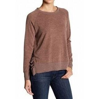 Olivia Sky NEW Brown Womens Size Medium M Ruffle-Side Crewneck Sweater 486
