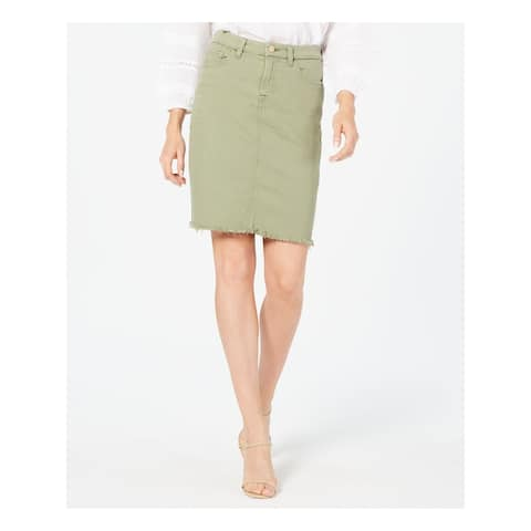 7 FOR ALL MANKIND Womens Green Above The Knee Pencil Skirt Size 12