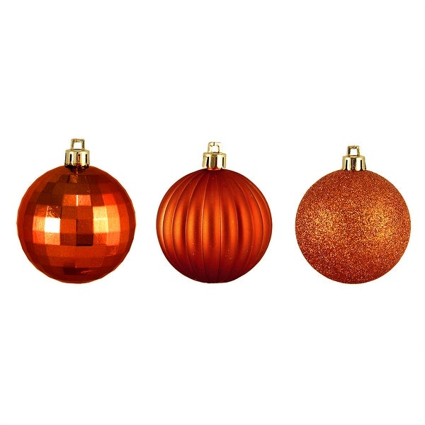"100ct Burnt Orange Shatterproof 3-Finish Christmas Ball Ornaments 2.5"". Opens flyout."