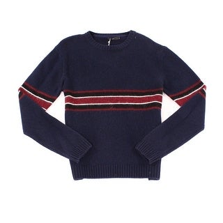 PLAC NEW Blue Red Mens Size XL Stripe Crewneck Wool Knit Sweater