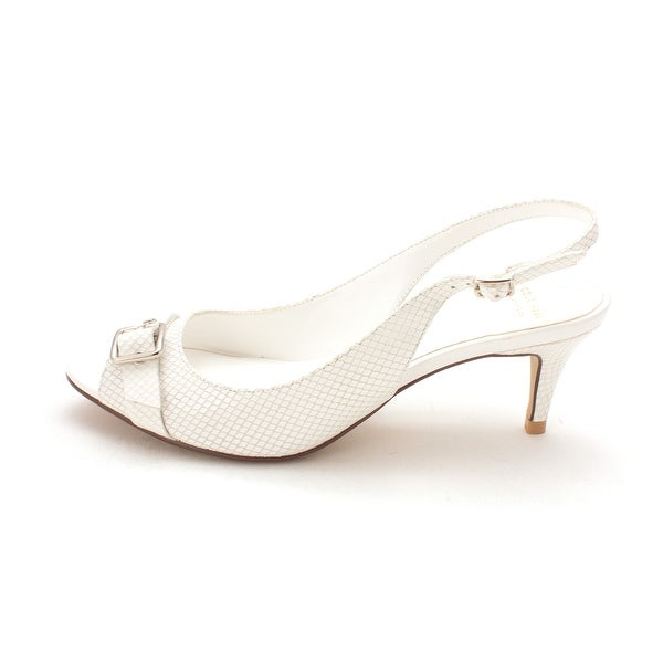 Cole Haan Womens Sheilasam Peep Toe SlingBack Classic, White Snake, Size 6.0