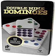 Double 9 Color Dot Dominoes in Collectors Tin (styles will vary)