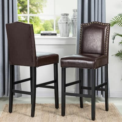 """Glitzhome 45""""H Faux Leather Bar Stool Counter Height Bar chairs(Set of 2) with Back"""