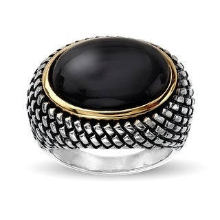 9 ct Onyx Cocktail Ring in Sterling Silver and 14K Gold - Black