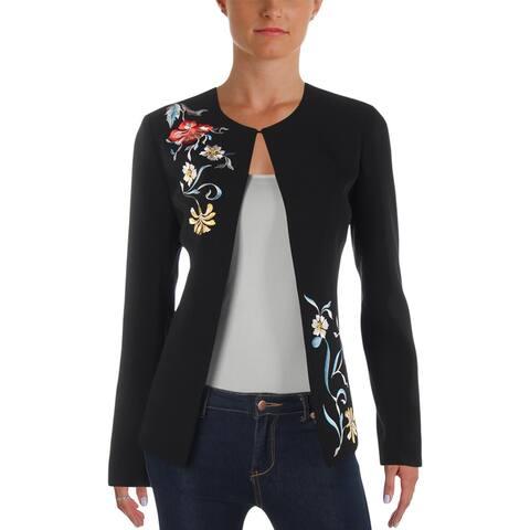 Tahari ASL Womens Collarless Blazer Embroidered Office