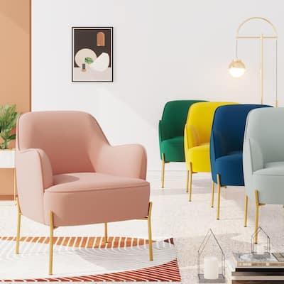 Corvus Penzing Velvet Upholstered Accent Chair with Golden Legs