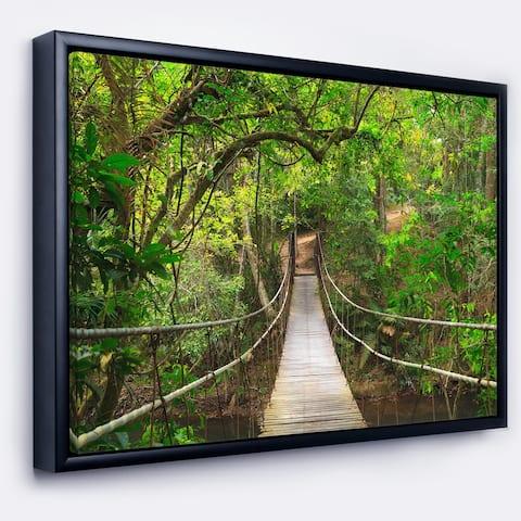 Designart 'Bridge to Jungle Thailand' Landscape Photo Framed Canvas Art Print