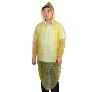 Adult Bicycle Pullover Style Yellow Plastic Disposable Hooded Raincoat Poncho