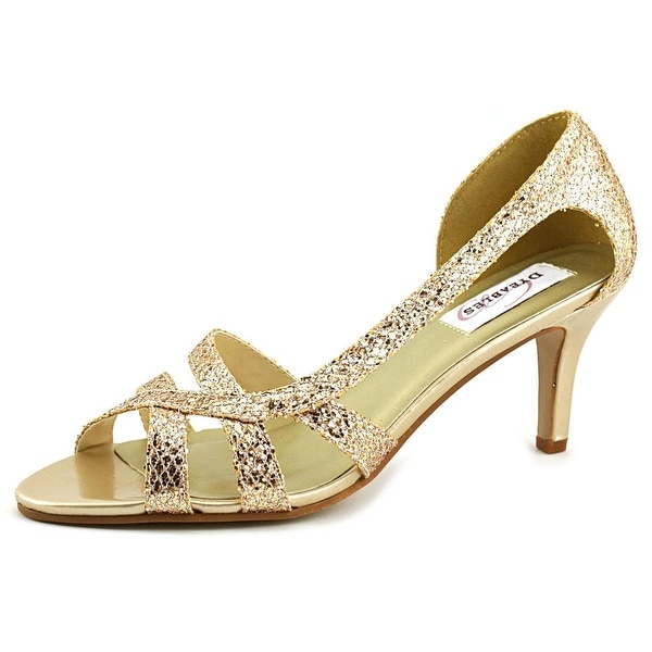 Dyeables Indie Women Open-Toe Synthetic Gold Heels
