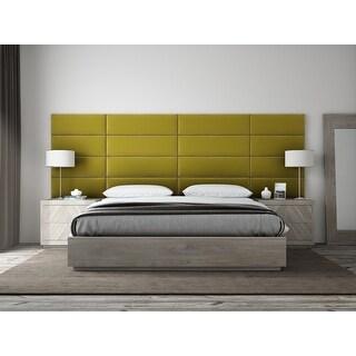 "VANT Upholstered Headboards - Accent Wall Panels - Packs Of 4 - PLUSH VELVET  Olive Moss - 39"" Wide x 11.5"" Height"