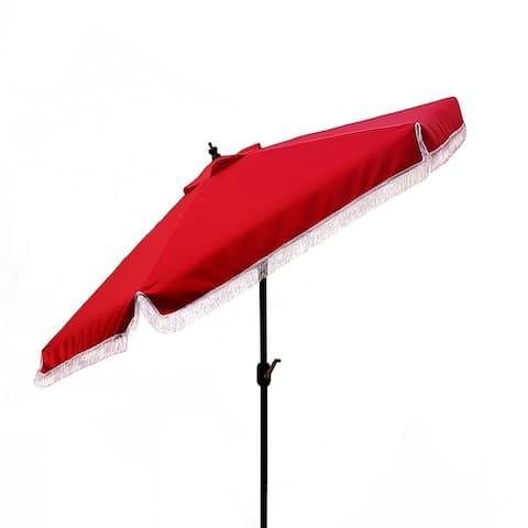 9FT Tassel Market Umbrella Outdoor Hanging Shades Umbrella