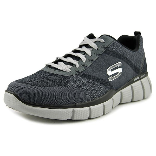 Skechers Equalizer 2.0-True Balance Men 4E Round Toe Canvas Black Sneakers