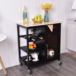 Costway Kitchen Rolling Cart Faux Marble Top Island Serving Utility w/ Cabinet Portable