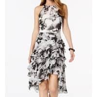MSK Black Women's Size 10 Sheath Ruffled Floral Print Midi Dress