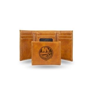 4 Brown NHL New York Islanders Laser Engraved Trifold Wallet N A