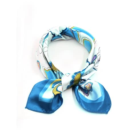 Women Square Shaped Flower Pattern Daily Wearing Scarves Blue White - Blue White Flower