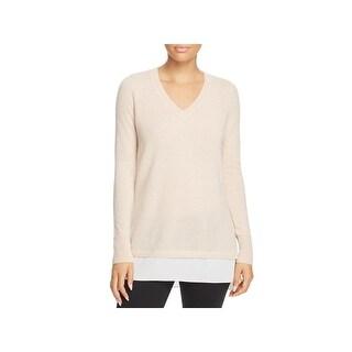 Private Label Womens V-Neck Sweater Cashmere Contrast Hem