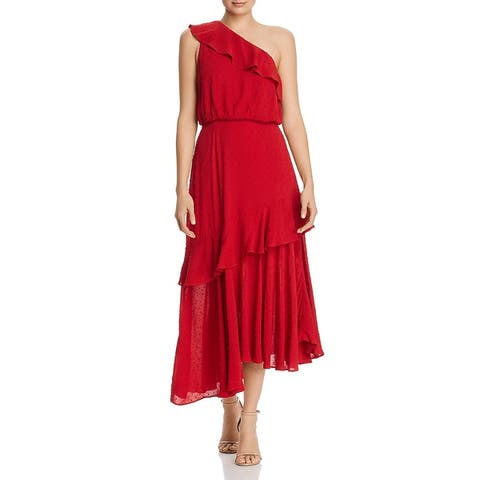 WAYF Womens Erika Maxi Dress One Shoulder Ruffled