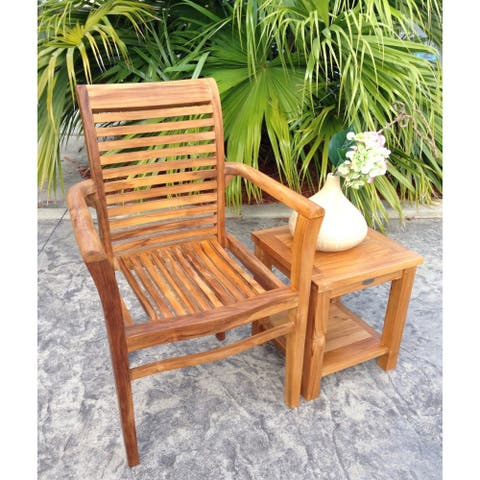 Chic Teak Rio Teak Wood Indoor/ Outdoor Stacking Arm Chair