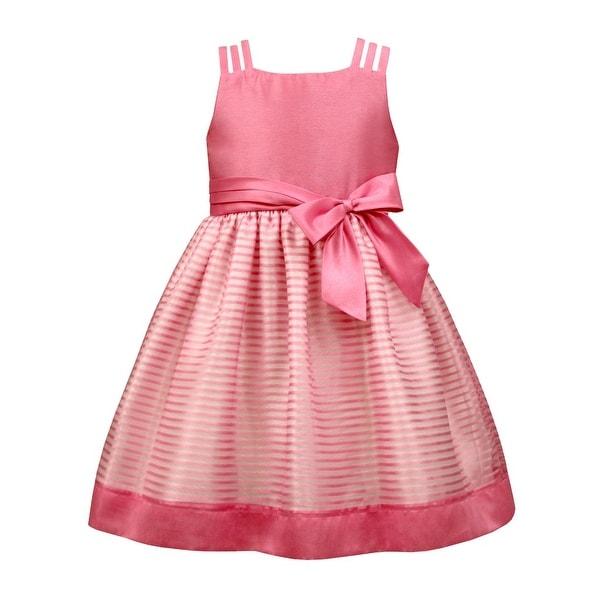 c8e05248d0f Shop Jayne Copeland Girls Pink Shadow Stripe Sash Junior Bridesmaid Dress -  Free Shipping Today - Overstock - 21130404