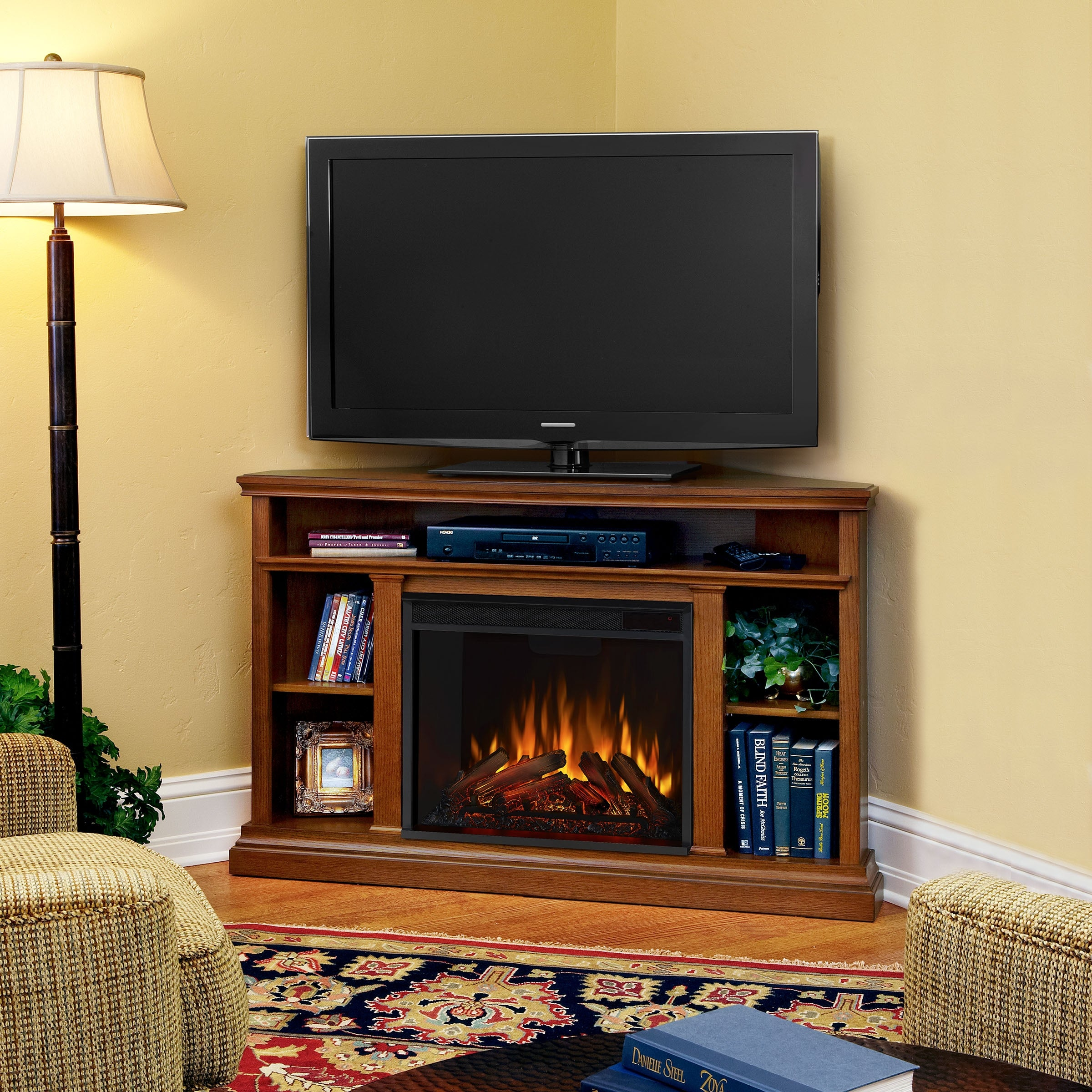 Shop Churchill Corner Media Electric Fireplace In Oak 50 75lx30 5w 33 125h Overstock 6430924