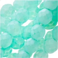 Czech Fire Polished Glass Beads 8mm Round - Matte Aqua (25)