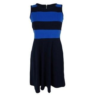 Spense Women's Striped Colorblock A-Line Dress