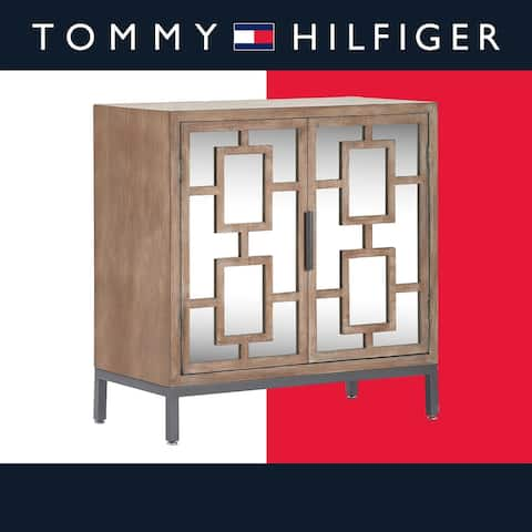 Tommy Hilfiger Hayworth Short Mirrored Accent Cabinet, Ash Gray