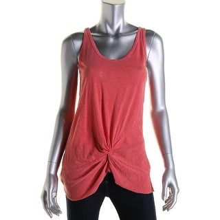 Stateside Womens Juniors Cotton Knot-Front Tank Top