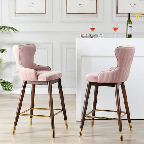 Leland Fabric Upholstered Wingback Bar Stools (Set of 2)