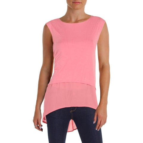 Vince Camuto Womens Petites Pullover Top Hi-Low Sleeveless