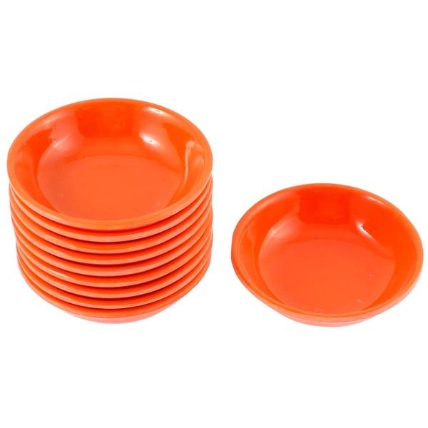 Unique Bargains Kitchen Sushi Soy Sauce Wasabi Dipping Dishes Plate Bowl Orange 10 Pcs