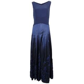 Patra Women's Shutter Soutache Jersey Taffeta Gown - 10