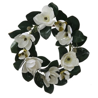 "26"" White Magnolia Flower and Leaves Artificial Silk Floral Wreath - Unlit"