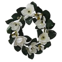 """26"""" White Magnolia Flower and Leaves Artificial Silk Floral Wreath - Unlit"""