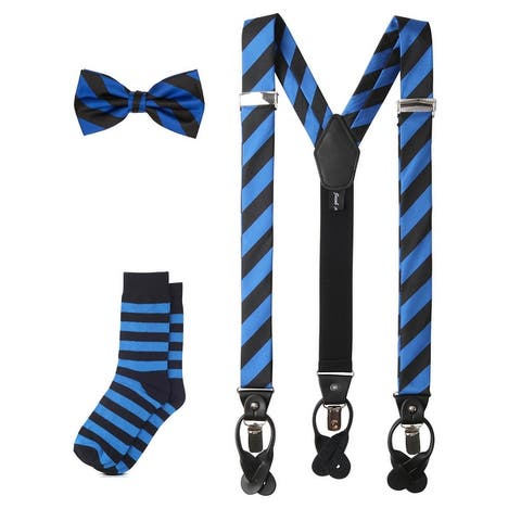 Jacob Alexander Matching College Stripe Suspenders Dress Socks and Bow Tie - One Size