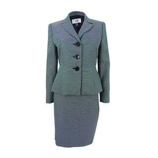 Le Suit Women's Plus Size Three-Button Tweed Skirt Suit (22W, Emerald Multi) - emerald multi - 22W
