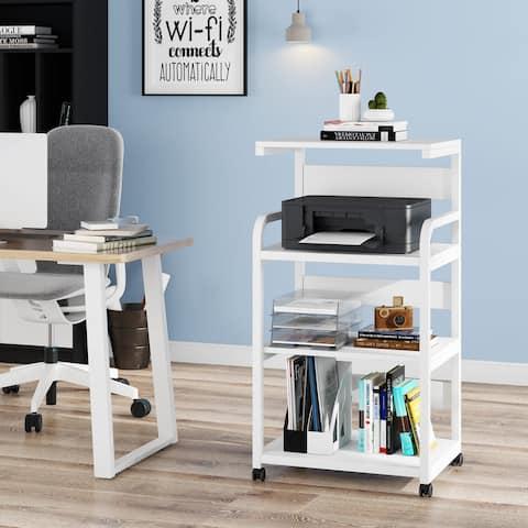 4-Shelf Mobile Printer Stand with Storage