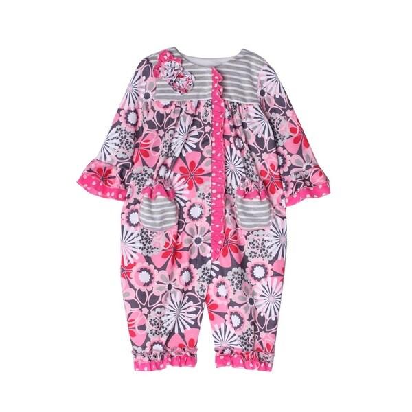 Isobella & Chloe Baby Girls Pink Leanne Flower Pattern Ruffle Romper