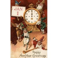 New Year Greetings Gnomes Clock Vintage Holiday (100% Cotton Towel Absorbent)