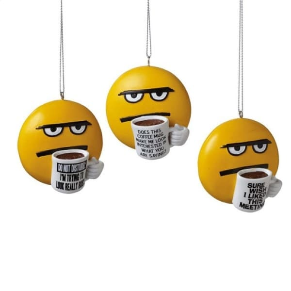 "2.25"" Coffee Break Coff-E-Motion Emoticon ""Wish I Liked This Meeting"" Christmas Ornament"