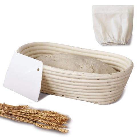 11-inch Oval Banneton Bread Proofing Baskets With Dough Scraper and Liner