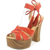 GUESS Womens Prenna Leather Open Toe Special Occasion Platform Sandals US