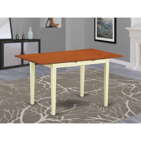 Norfolk Table - Butterfly Leaf Modern Rectangular Table Made of Asian Wood (Finish Option Available)